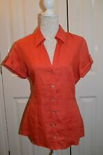 Wallis orange button top. size 14