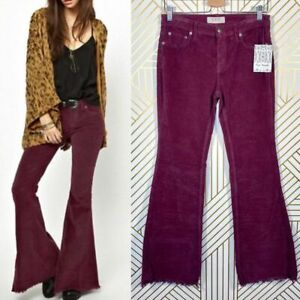 NWT Free People Vintage Corduroy Flare Pants Wood Violet Raw Hem Size 26