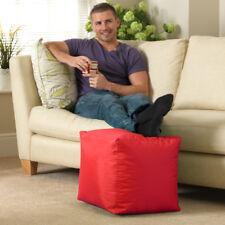 Bean Bag Bazaar Cube - Indoor & Outdoor Water Resistant Footstool Pouffe - Red