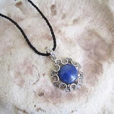 Round Antique Style Genuine LAPIS LAZULI Stone PENDANT & Cord Necklace
