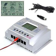 LCD 30A Solar Panel Regulator Charge Controller 12V/24V + Extension Cable US DH