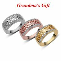 New Size5-11 Birthday Gifts Letter Shape Sterling Silver Grandma Ring Diamond
