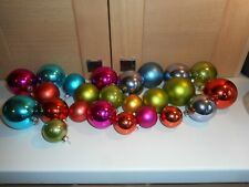 49 MULTI COLOURED PLASTIC CHRISTMAS TREE BAUBLES ORNAMENTS WITH METAL TOPS