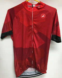 NWT CASTELLI  Full-Zip Cycling Jersey Men's Large Red SS Hexagon Designs