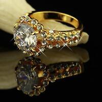 Damenring  Solitär Zirkonia weiss 750er Gold 18 K vergoldet Gr. wählbar R1167