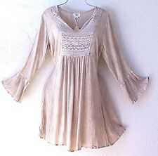 NEW~$60~Sand Beige Crochet Lace Peasant Blouse Tunic Boho Top~8/10/M/Medium