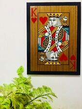 Handmade Heart King Playing Card Wooden Painting Frame  wall Art
