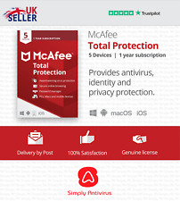More details for mcafee total protection 2021 5 multi devices 1 year - physical delivery by post