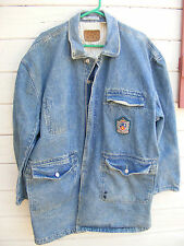Vintage Code Bleu Mens XL Denim Coat Duster Jacket with Patch and Pockets