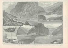 1890 Antique Print - CHINA YANGTZE RIVER YICHANG NIUKAN GORGE JUNK BOAT (171)