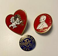 Vintage Cupid Heart Enamel Red Metal Hat Tac Pin Lapel Resin Lincoln Aviva Tack