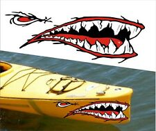 SHARK TEETH MOUTH DECAL STICKERS KAYAK CANOE JET SKI HOBIE DAGGER OCEAN boat a1