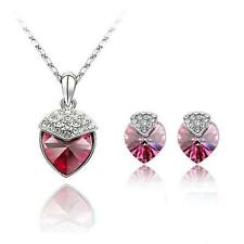 NEW JEWELLERY BY CORNELIUS EARRING AND NECKLACE SET PINK SWAROVSKI CRYSTAL