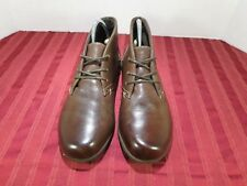 Dr Scholls Ankle Lace up Brown Leather Casual Fashion Boots Women Sz 8.5