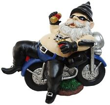 Solar Biker Gnome Statue Outdoor Home Garden Funny Figurine Resin Lawn Sculpture