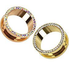 PAIR - MULTI GEM RIM TUNNELS EAR GAUGES SCREW-FIT PLUGS GOLD/ROSE GOLD-TONE 316L