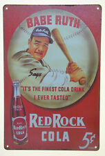 "Babe Ruth Baseball Classic Red Rock Cola Soda Pop 8x12"" Metal Sign Tin Retro NEW"