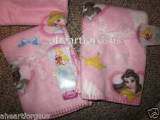 NEW DISNEY BLANKET PRINCESS FLEECE SOFT BABY PINK GIRL HEARTS CROWNS CASTLE