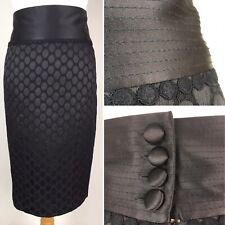 Next Occasion Skirt UK 8 Pencil Straight Knee Length Black Brocade Jacquard Lace