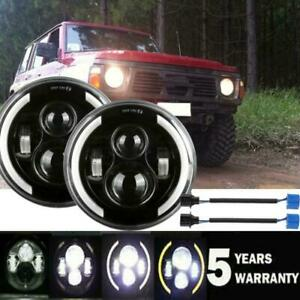 """2X 7""""Inch LED Headlight Sealed Amber White Angle Eyes Hi-Low DRL For Porsche 944"""