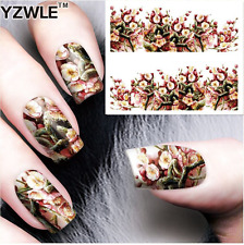 Nail Art Stickers Transfers Decals White Flowers (A-80)