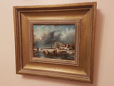 Dutch Scene 'Frozen River' Oil On Panel, Signed By A. Norley