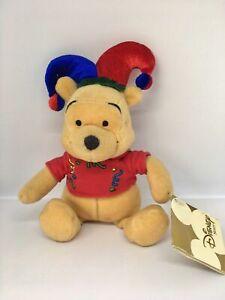 """Rare Disney Store Winnie Pooh Joker Jester Hat Clown Gift 8"""" Beanie Teddy Toy"""