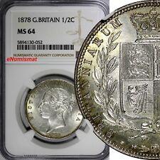 Great Britain Victoria Silver 1878 1/2 Crown NGC MS64 RARE KM# 756; S-3889 (052)