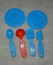 Vintage Fisher Price Kitchen Set Utensils & 2 plates