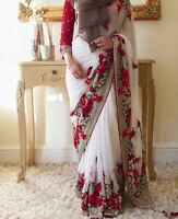 Saree Indian Designer Sari Work Blouse Pakistani Wedding Bollywood Bridal Wear