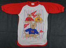 Rare Vintage COCA COLA Teddy Bear Flag T Shirt 80s 90s Retro Coke Red Kids SZ M
