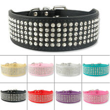5 Rows Bling Rhinestone PU Leather Dog Collars 5.0cm Wide for Large Dogs Pitbull