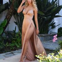 Women Deep V Neck Backless Long Maxi Dress Summer Party High Split     Clubwear