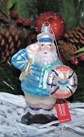 SANTA NAVY SAILOR  NAUTICAL Sea MERRY Christmas GLASS Ornament 5.5""