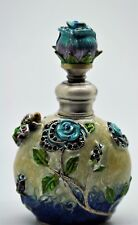 Blue Flower Crystal Jeweled Perfume Bottle Fragrance Container Decoration