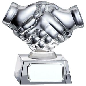 Executive Handshake Glass Award Company Corporate Trophy - FREE Engraving GC238