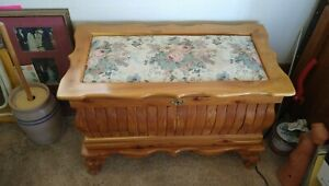 Cedar Chest.  Padded, Upholstered Top With Lock and Key. Beautiful.