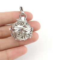 B59 Silver Color Alloy Beads Cage Locket Hollow Round Floating Diffuser Charm