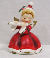 Vintage NAPCO Christmas Angel Holly on Red Hat & Dress Playing Instrument Japan
