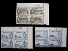 GIBRALTAR - SCOTT# 135,137,140 - PLT BLOCKS 4 - MNH - CAT VAL $43.00