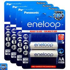 8 x Panasonic Eneloop AA batteries 1900mAh Rechargeable Ni-MH BK-3MCCE Pack of 2