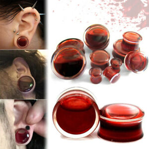 Pair Blood Red Liquid Filled Double Ear Plugs Flesh Tunnels Gauges Halloween