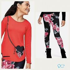 Justice Girls Size 12 Pocket Purse Tee And Floral Fleece Leggings NWT