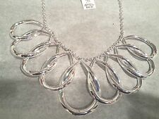 Lauren Ralph Lauren Silver-Tone Interlocking Teardrop Frontal Necklace  NWT