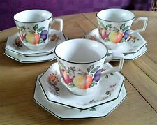 3JOHNSON BROS. Tea Cup Trios in the Lovely FRESH FRUITS Pattern