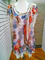 Pretty Angel NWT floral chiffon sleeveless top womens ivory,coral Boutique S,M,