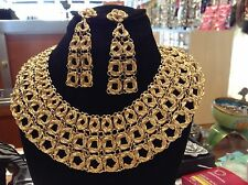 SPECTACULAR VINTAGE MONET CLEOPATRA COLLAR NECKLACE & EARRINGS SET! NR! PERFECT