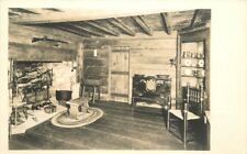 1920s Log Cabin Interior Fireplace Furniture RPPC real photo postcard 2389