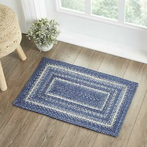"""VHC Brands Farmhouse 30""""x20"""" Accent Rug Blue Great Falls Textured Floor Decor"""