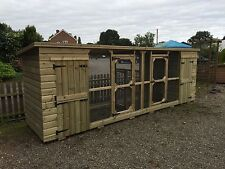 DOUBLE DOG KENNEL /CAT HOUSE AND RUN **UK DELIVERY AVAILABLE**